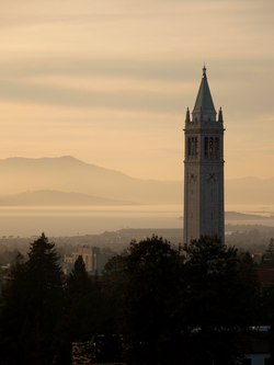Sather Tower (the Campanile) looking out over the San Francisco Bay and                                 Mount Tamalpais                                .