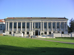 The north side of Doe Library with Memorial Glade in the foreground.