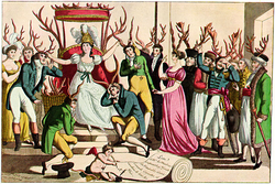 c. 1815 French satire on cuckoldry, which shows both men and women wearing horns.