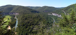 The Ozarks: bend in the Buffalo River from an overlook on the Buffalo River Trail near Steel Creek