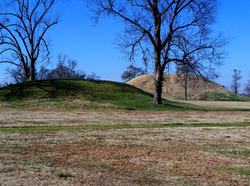 Burial mounds, such as this one at Toltec Mounds Archeological State Park near Scott, were constructed more frequently during the Woodland Period.