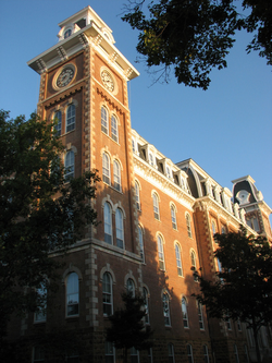 Old Main, part of the Campus Historic District at the University of Arkansas in Fayetteville