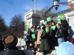 Jill Stein announcing her candidacy for governor in February 2010