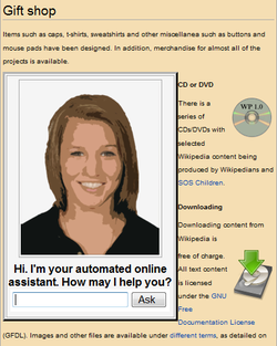 An automated online assistant providing customer service on a web page – one of many very primitive applications of artificial intelligence.