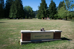Knight's Green, a lawn named after Knight at Marylhurst University in Marylhurst, Oregon.