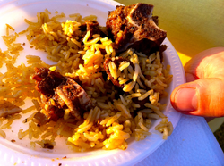 A Somali camel meat and rice dish.