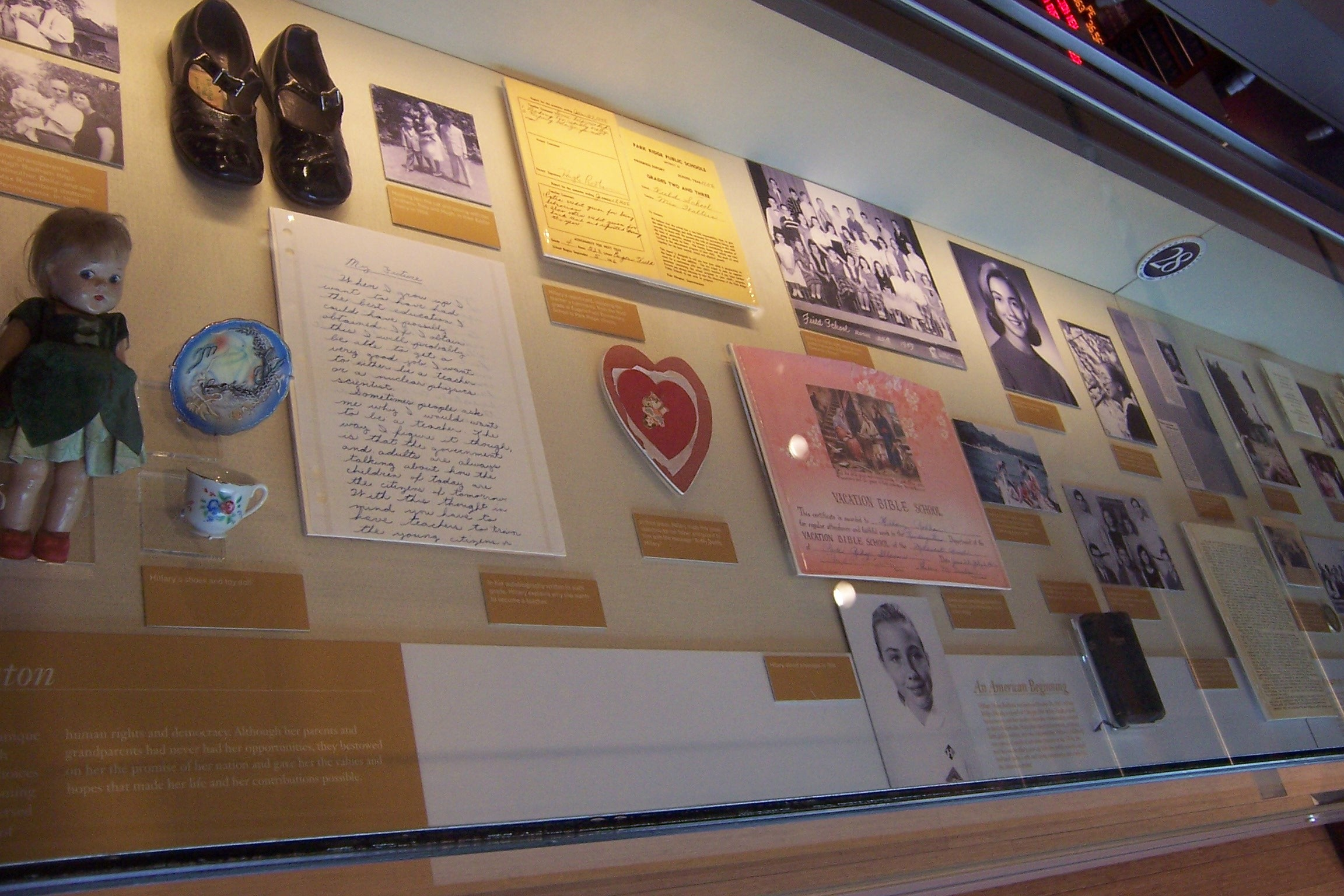 Mementos of Hillary Rodham's early life are shown at the William J. Clinton Presidential Center.