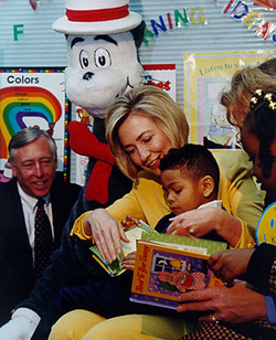 Clinton reads to a Maryland child during Read Across America Day, 1998.