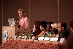 """Clinton delivering her famous """"human rights are women's rights and women's rights are human rights"""" speech in Beijing in September 1995"""