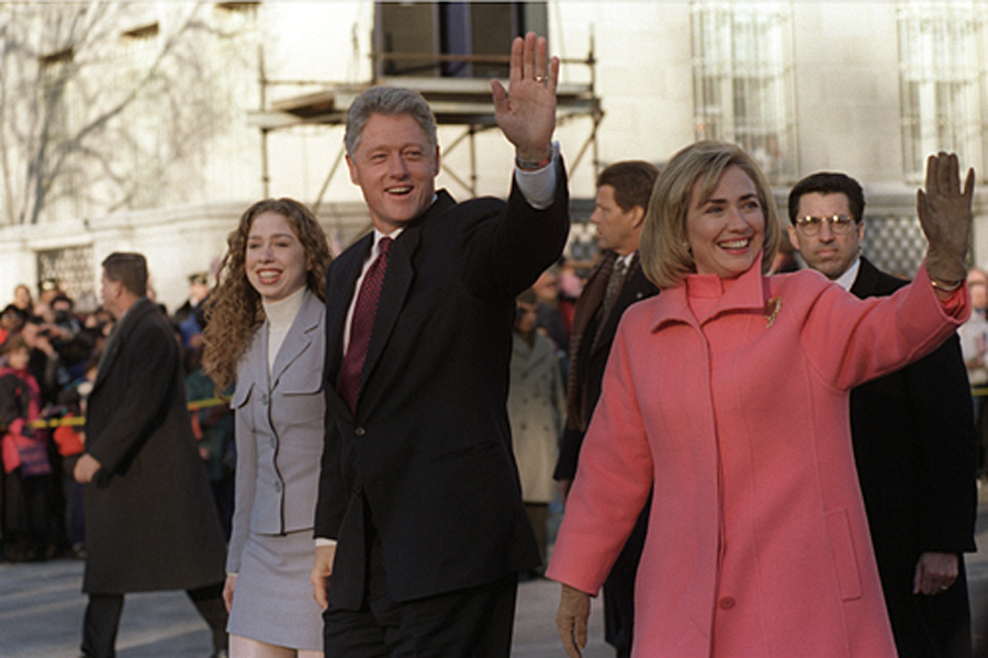 The Clinton family takes an Inauguration Day walk down Pennsylvania Avenue to start President Bill Clinton's second term in office, January 20, 1997.