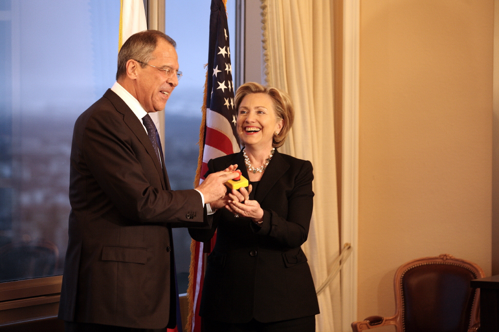 "Clinton with Russian Foreign Minister Sergey Lavrov and the ""reset button"", March 2009"