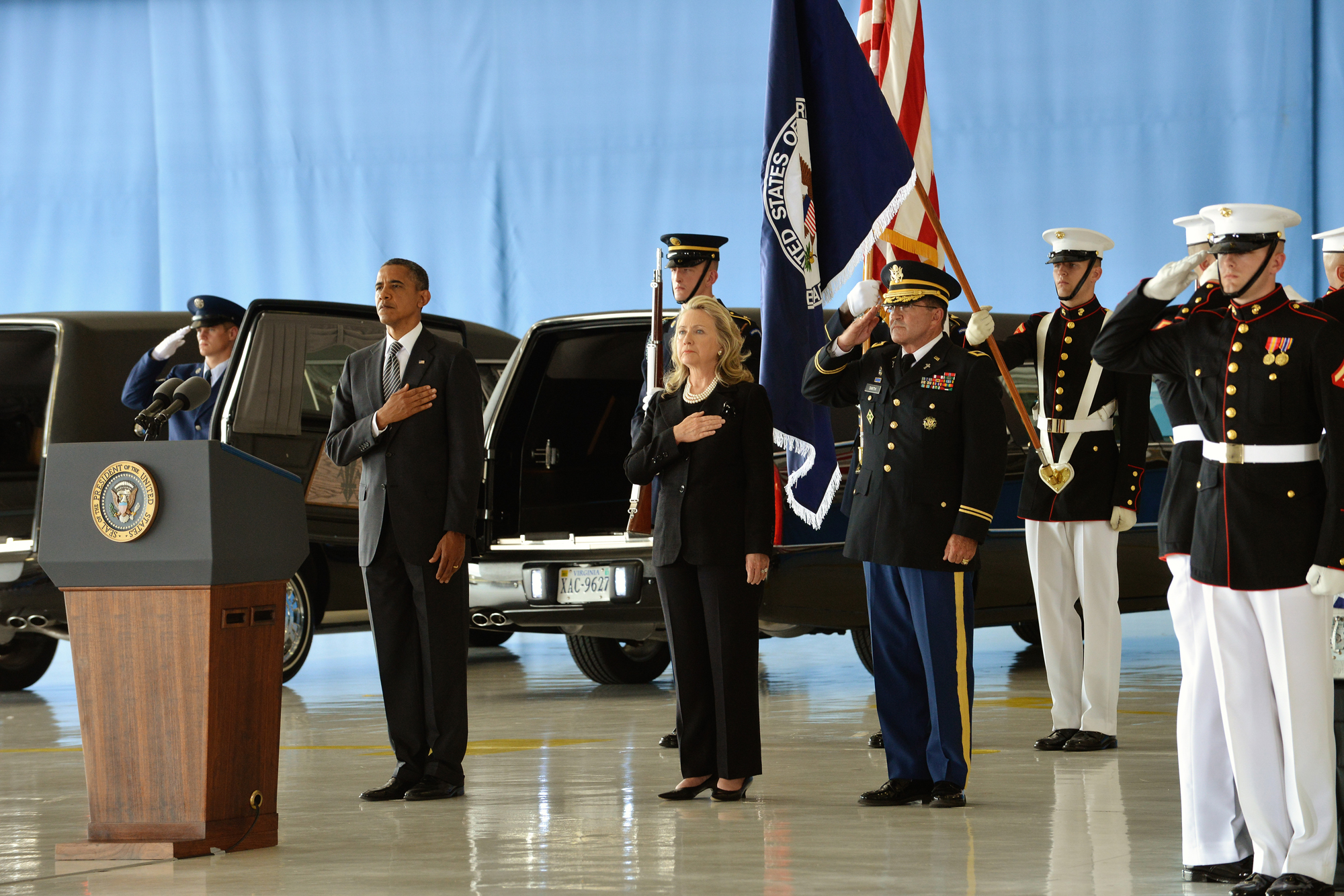 President Obama and Secretary Clinton honor the Benghazi attack victims at the Transfer of Remains Ceremony held at Andrews Air Force Base on September 14, 2012.