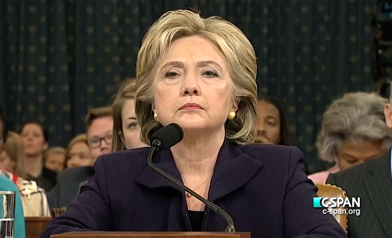 Clinton testifying before the House Select Committee on Benghazi on October 22, 2015