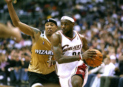James picks up his dribble against the Washington Wizards in November 2006.
