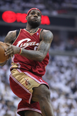 James drives to the basket in March 2008. A deft finisher, he led the NBA in scoring and shooting percentage at the rim in 2013.[230]