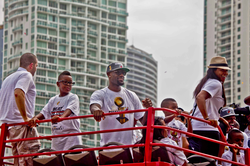 James (center) celebrates during the Heat's 2012 championship parade.