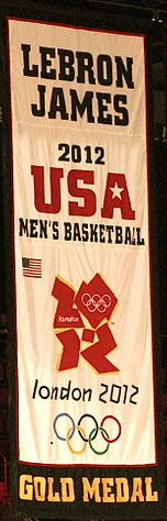 Commemorative banner hanging from the rafters at American Airlines Arena in honor of James' 2012 Olympic Gold Medal.