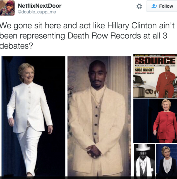 Hillary dressed up like Death Row Records' 2Pac, Suge Knight and Snoop Dogg for the debates.