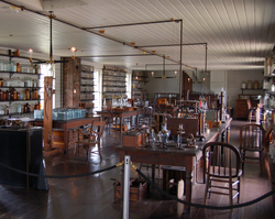 Edison's Menlo Park Laboratory, reconstructed at Greenfield Village at                                 Henry Ford Museum                                in Dearborn, Michigan. (Note the organ against the back wall)