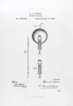 U.S. Patent#223898: Electric-Lamp. Issued January 27, 1880.