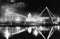 Extravagant displays of electric lights quickly became a feature of public events, as in this picture from the 1897                                 Tennessee Centennial Exposition                                .