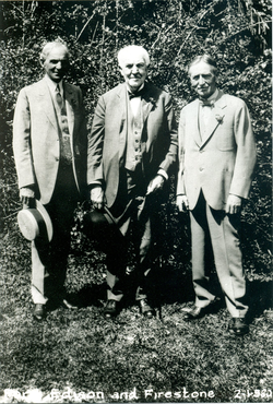 From Left to Right: Henry Ford, Thomas Edison, and Harvey Firestone, the three partners of the Edison Botanic Research Corporation.