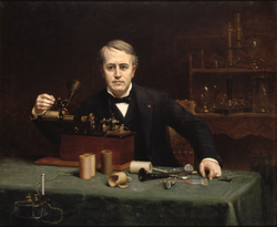 Portrait of Edison by                                 Abraham Archibald Anderson                                (1890),                                 National Portrait Gallery
