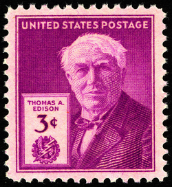 Thomas Edison commemorative stamp, issued on the 100th anniversary of his birth in 1947