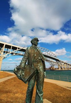 Statue of young Thomas Edison by the railroad tracks in Port Huron, Michigan.