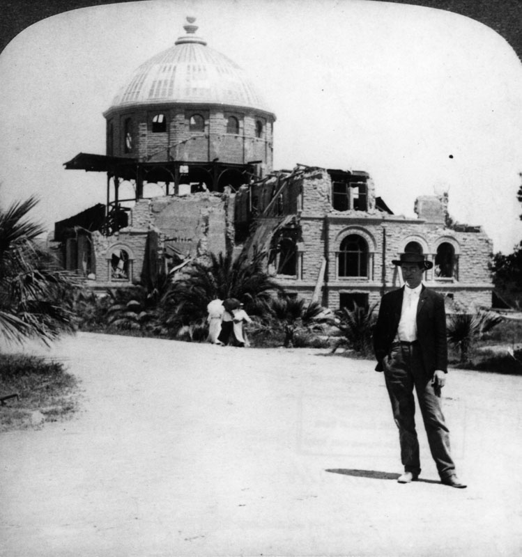 The ruins of the unfinished Stanford Library after the 1906 San Francisco earthquake