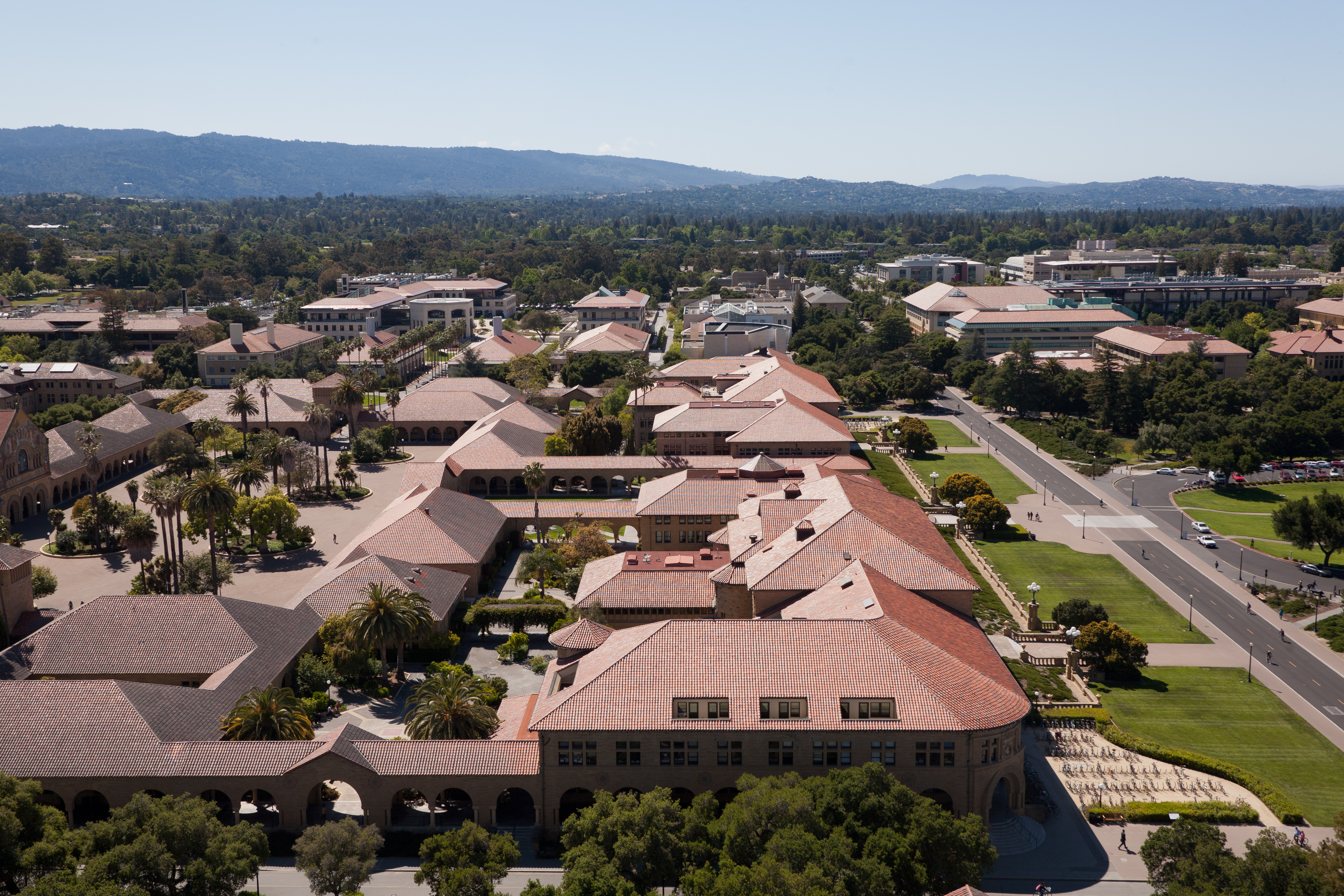 From the Hoover Tower one can see all of the Stanford campus. Pictured is the Main Quad and Serra Street.