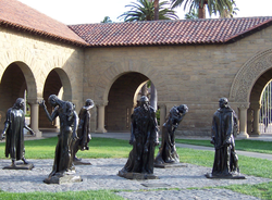 Bronze statues by                                 Auguste Rodin                                are scattered through the campus, including these                                                   Burghers of Calais                                                 .