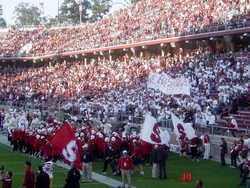 "The                                 Leland Stanford Junior University Marching Band                                rallies football fans with arrangements of ""All Right Now"" and other contemporary music."