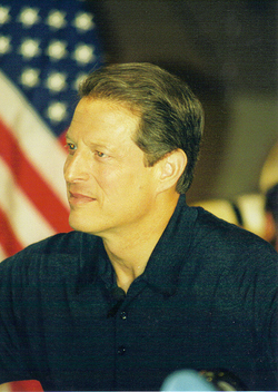 In Manchester, New Hampshire campaigning for President of the United States in 1999