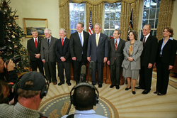 President George W. Bush meets with Al Gore and the other 2007 Nobel Award recipients, November 26, 2007.