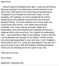 Chester Bennington's open letter to Chris Cornell