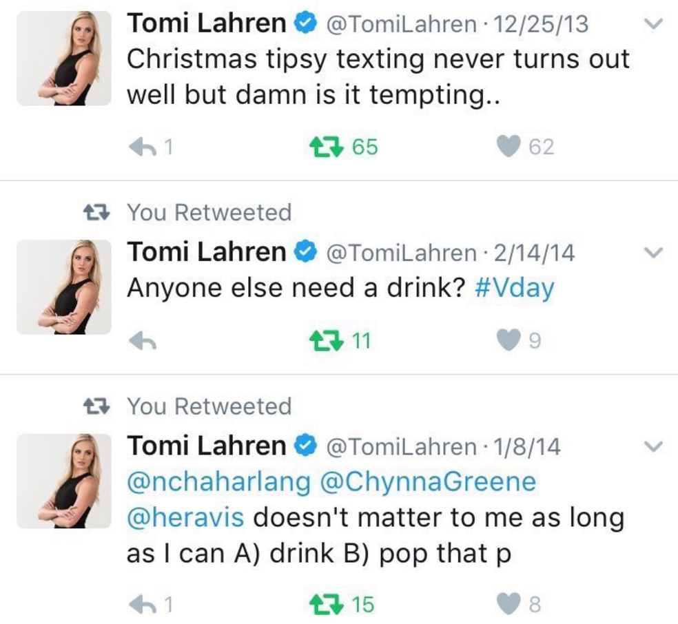 Tomi's tweet about her drinking. [2]