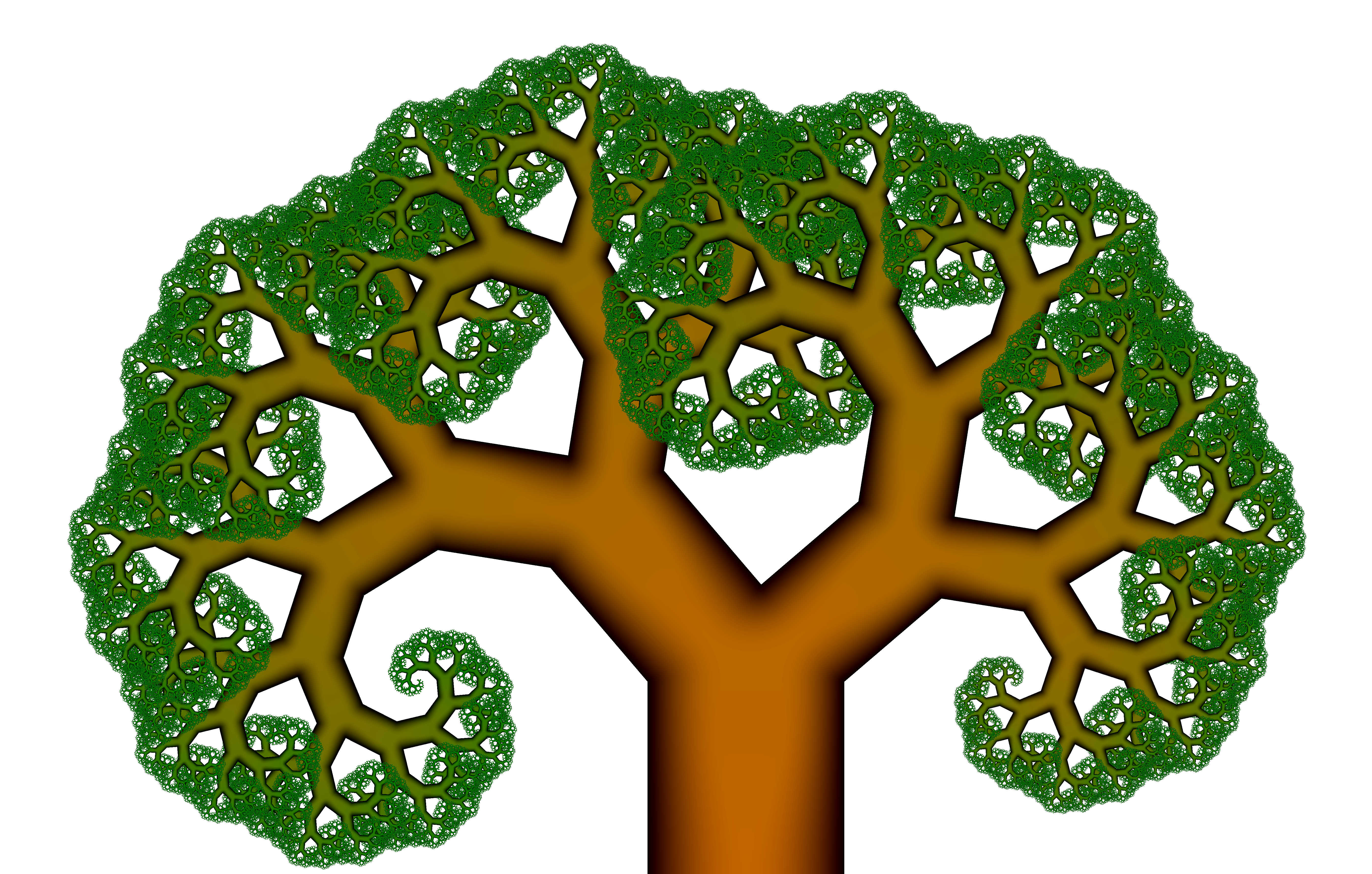 The Pythagoras tree with an angle of 25 degrees and smooth coloring.
