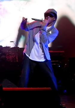 Eminem performing live at the DJ Hero Party in Los Angeles.
