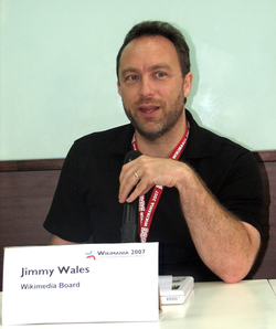 Wales appearing as a member of the                                 Wikimedia Foundation                                Board of Trustees at                                 Wikimania 2007