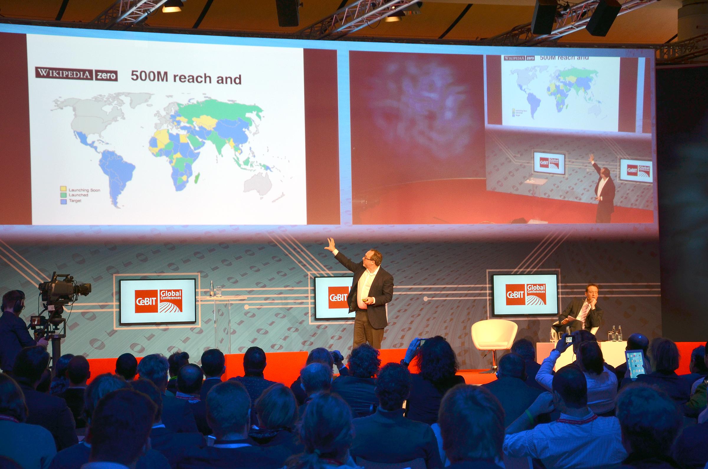Jimmy Wales 2014 on CeBIT Global Conferences, Wikipedia Zero