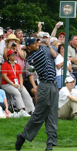 Woods practicing before 2004 Ryder Cup at Oakland Hills Country Club in Bloomfield Township, Michigan