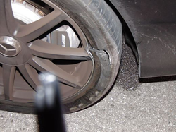 Woods destroyed tire on his 2015 Mercedes-Benz S65 AMG