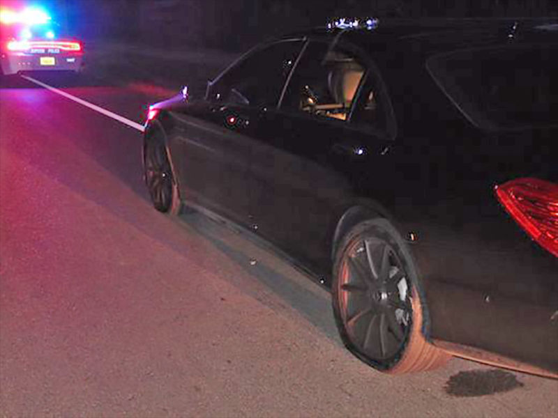 Side view on Woods's 2015       Mercedes-Benz S65 AMG      from his 2017 DUI arrest