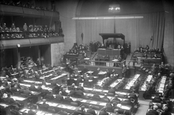 The                                 League of Nations                                assembly, held in                                 Geneva                                ,                                 Switzerland                                , 1930