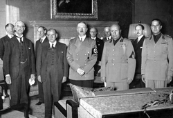 Chamberlain                                ,                                 Daladier                                ,                                 Hitler                                ,                                 Mussolini                                , and                                 Ciano                                pictured just before signing the                                 Munich Agreement                                , 29 September 1938