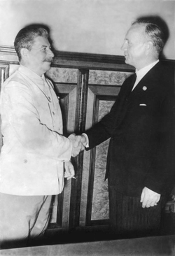 German Foreign Minister Ribbentrop and the Soviet leader Joseph Stalin, after signing the Molotov–Ribbentrop Pact, 23 August 1939