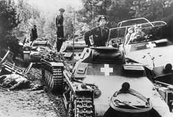 German                                 Panzer I                                tanks near the city of                                 Bydgoszcz                                , during the                                 Invasion of Poland                                , September 1939