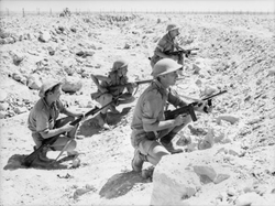 Australian                                troops of the British Commonwealth Forces man a front-line trench during the                                 Siege of Tobruk                                ;                                 North African Campaign                                , August 1941