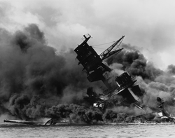 USS Arizona                                during the Japanese surprise air attack on the                                 American pacific fleet                                , 7 December 1941